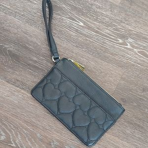 Betsey Johnson Black Quilted Heart Wristlet